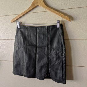 NWOT Leather Mini-Skirt Black